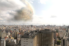 Alien Planet over Sao Paulo. A fantasy / science ficition Illustration. A alien Planet over Sao Paulo stock photos