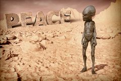 Alien on the planet Peace Stock Images