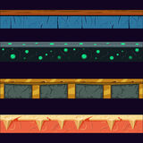 Alien Planet Platformer Level Floor Design Set Royalty Free Stock Images