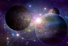 Alien planet with rising sun Stock Images