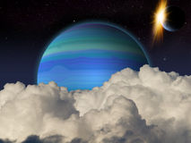 Alien Planet sci-fi scene. Artist's Rendition. Fantasy alien space scene with alien planets and moons Stock Photography