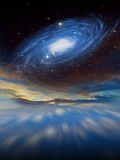 Alien Planet sci-fi scene. Artist's Rendition. Fantasy alien space scene with alien planets and moons Stock Photos