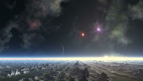 Alien Planet and Shooting Star UFO stock video footage