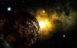 Alien planet in space. Deep outer space background with stars and nebula Royalty Free Stock Photography