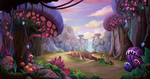 Alien Planet Surface Environment. Video Game`s Digital CG Artwork, Concept Illustration, Realistic Cartoon Style Background Royalty Free Stock Photo