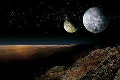 Free Alien Planet Two Moons Stock Photography - 165569882