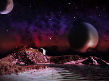 Alien planet. Two moons at night rise. Over the landscape with a lake. - Artist impression of fantasy landscape Stock Photo
