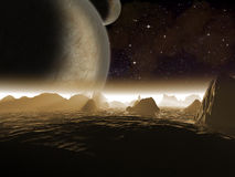 Alien planet. Two moons at night rise. Over the landscape of a rocky moon - Artist impression of fantasy landscape Stock Images