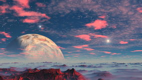 Alien Planet and UFO. Stony desert covered with red, blue mist in the lowlands. Over the horizon a huge planet. UFO fly out - over the horizon and the top and stock footage