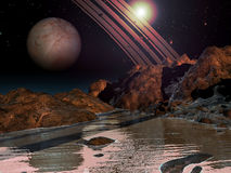 Alien planet with water Royalty Free Stock Photo