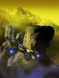 On alien planets. Shuttle flying over rocks of a far planet Royalty Free Stock Images