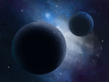 Alien planets in universe. Two Alien planets in universe Stock Photo