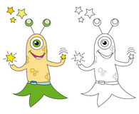 Alien playing with stars Royalty Free Stock Images
