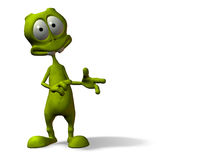 Alien pointing. Cartoon alien with surprised expression w/ clipping mask Stock Photos