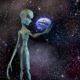 Alien ponders human brain. In deep space Royalty Free Stock Photos
