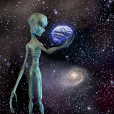 Alien ponders human brain. With space background Stock Image