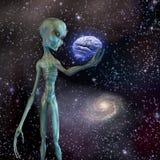Alien ponders human brain Stock Image