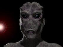 Alien portrait. Futuristic 3d Alien portrait and background Stock Photo