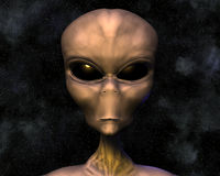 Alien portrait with stars Stock Image