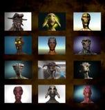 Alien Portrait Varied Royalty Free Stock Photos