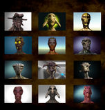 Alien portrait varied Royalty Free Stock Photos