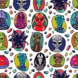 Alien Portraits Cartoon Seamless Pattern. Alien portraits seamless pattern. Fictional creatures from another planet. Vector cartoon characters Stock Photo