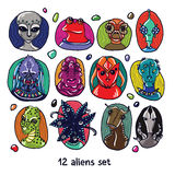 Alien Portraits Colorful Set Royalty Free Stock Images