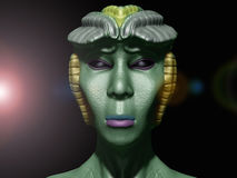 Alien princess portrait. 3d Alien princess portrait and light Stock Photography