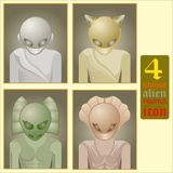 Alien profile icon. Image of four alien profile icon, unique, and different for you. easy to edit, add or remove and change as you like Royalty Free Stock Photography