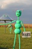 Alien Pumpkins in a Corn Field Stock Images