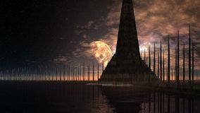 Alien Pyramid Among the Boundless Water. The big pyramid stands among the boundless water. In a dark starry sky a large planet moon and the bright nebula. Clouds stock illustration