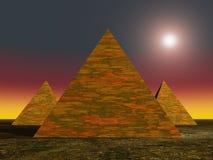 Alien Pyramids. Three Alien Pyramids in 3D royalty free illustration