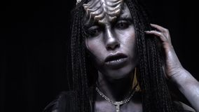 Alien queen on a spaceship. The alien came to earth stock video