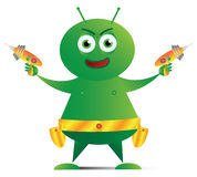 Alien with Ray Guns_01 Stock Photography