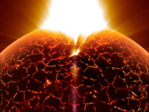 Alien red sun death. Alien big hot unknown sun explosion before death Royalty Free Stock Photography