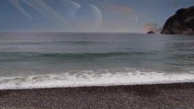 Alien relaxing beach