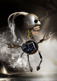 Alien robot. A assembled alien smoking and moving toward a brightly lit area.  He is very hip with a pair of sunglasses on a smoke coming from tubes Stock Image