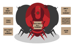 Alien robots invasion. 3 robots with defferent signs. Illustration isolated on white Stock Photography
