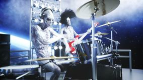 Alien rock party on space ship. Concert. Guitar, bass and drum play. Earth background. Alien funny concept. Realistic 4K