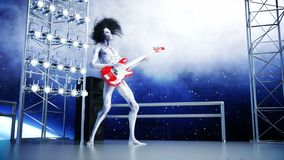Alien rock party on space ship. Concert. Guitar, bass and drum play. Earth background. Alien funny concept. Realistic 4K royalty free illustration