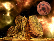 Alien Rock with space background Stock Photo