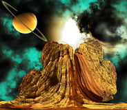 Alien Rock with space background Stock Image