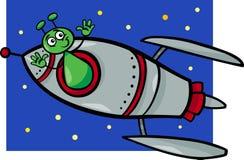 Alien in rocket cartoon illustration. Cartoon Illustration of Funny Alien or Martian Comic Character in the Rocket or Spaceship vector illustration