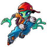 Alien Rollerblades. Alien with red cap and rollerblades Royalty Free Stock Image