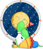 Alien romance. A couple in love looking at the moon. Vector illustration Stock Photo
