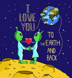 Alien's love. Valentine's day greeting card. Stock Photography