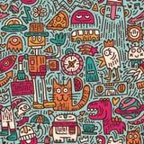 Alien`s morning doodle vector seamless pattern stock illustration