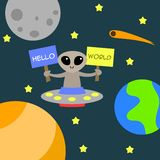 Alien say greeting funny and happy for child and kid cartoon illustration flat Royalty Free Stock Photo