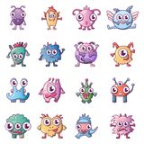 Alien scary monster icons set, cartoon style. Alien scary monster icons set. Cartoon illustration of 16 alien scary monster vector icons for web Vector Illustration