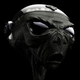 Alien. Sci-Fi grey alien head scene 3D Stock Photos